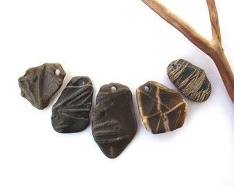 Rock Pendants Top Drilled Beach Stones Mediterranean River Stone Beads Natural Stone Beads DIY Jewelry Findings FOSSIL PENDANTS 27-42 mm