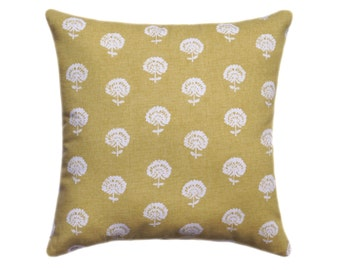 Amber Yellow Floral Pillow, Floral Decorative Throw Pillow Cover, Golden Yellow Throw Pillow, 24x24 Pillow cover, Citrine Flower Pillow Case