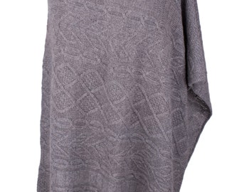 Ladies 100% Cashmere Arran Cable Poncho - 'Light Gray' - handmade in Scotland by Love Cashmere