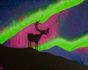 Stunning Moment or Reindeer Silhouette Under Aurora Sky, Deer Art, Aurora Borealis Art, Northern Lights