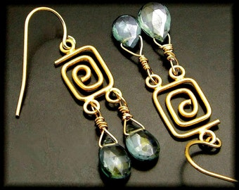 GOING MY WAY ~ Green Amethyst 14kt Gold Fill Earrings