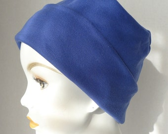 Cornflower Blue Rolled Cuffed Cool Weather Cancer Chemo Hat Soft Cotton Poly Interlock Cap