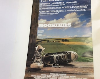 1986 Original HOOSIERS movie film poster Gene Hackman Barbara Hershey