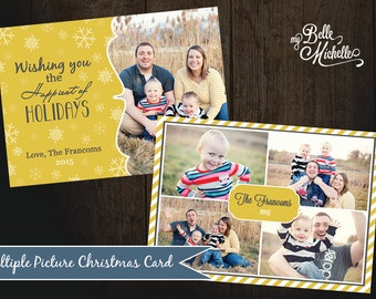 Two-Sided Personalized Multiple Picture Collage Christmas Card - You Print