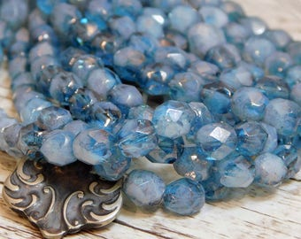 Czech Glass Beads - Fire Polished Beads - 6mm Beads - Blue Beds - Round Beads - 6mm Round - Blue Fire Polished - 25pcs - (1496)