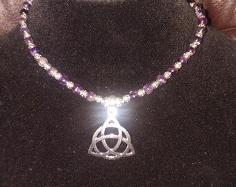 Amethyst & Silver Beaded Handmade Necklace w/Celtic Knotwork Pendant