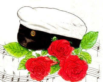 2 napkins sailor Cap 25 x 25 cm (246)