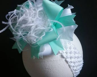 Aqua & White Over The Top Boutique Hairbow Headband Hair Clip Ostrich Feather
