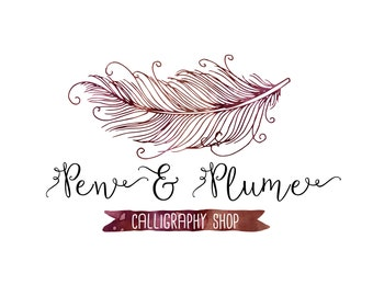 Premade Customizable Watercolor Logo - Plume - Business Cards - Blog - Marketing - Branding