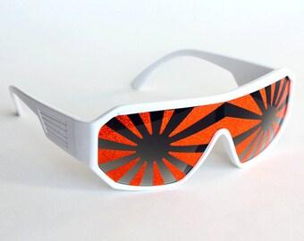 Rasslor Orange Star Burst on White Shield Sunglasses
