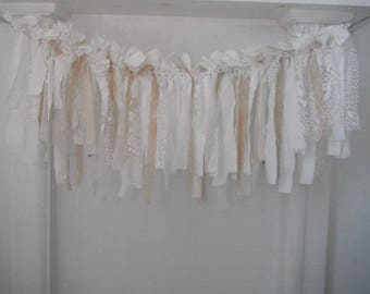lace garland rag garland cottage chic french country photo prop cottage style nursery decor nursery garland white coffee stained 3ft x 14""