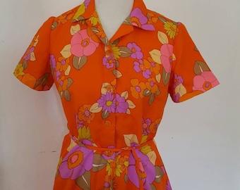 Vintage 1960s Orange Floral Flower Power Short Sleeve Shirt Dress