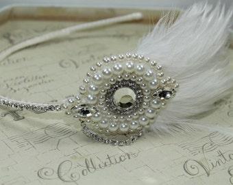 Gatsby headband - Ivory 1920s headband - Great Gatsby - Feather headband - Art deco headband - feather headdress - Great Gatsby headpiece.