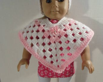 18 inch Doll Clothes --- Crocheted White and Pink Poncho with Hat