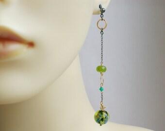 Dichroic Murano Glass Long Earrings