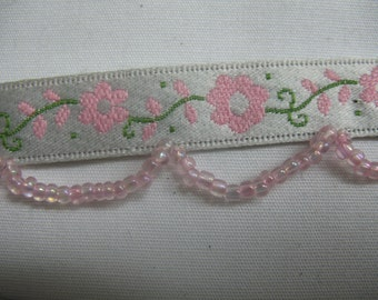 Ribbon with Flowers and Beads in - PINK