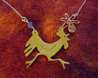 Chicken / Chook Necklace, Cockrel, Silver Running SquareHare, Free Postage, Vegan, UK, Rooster