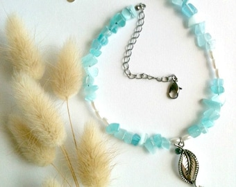 Sea Blue Beaded Necklace With Twisted Gunmetal Silver Leaf