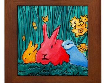 Folk Art- Bunnies - FRAMED TILE By Artist A.V.Aposte