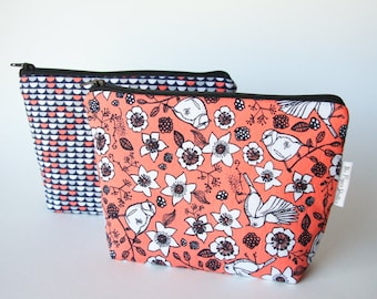 Choose birds or scallop navy/coral zipper pouches, cosmetic bag, mother's day gift, purse organizer