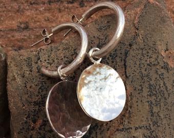 Hammered Discs on Forged Half Hoop Post Earrings
