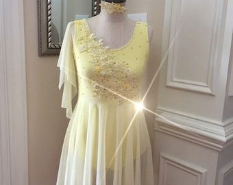 One Piece Custom Lyrical Dance Costume YELLOW Leotard with light yellow skirt and Appliques
