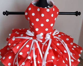 Dog Dress red with white polkadots