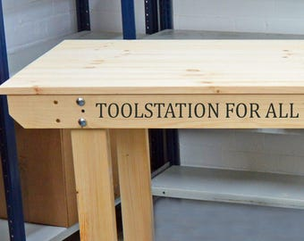 Wooden Workbench with PERSONALISED TEXT | Handmade - Very Strong & Sturdy | Top Quality!