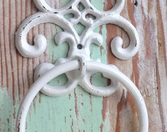 Towel Ring - Towel Holder -Fleur de Lis - Towel Ring - Shabby Chic Bathroom - Rustic- White -Bathroom Decor - Decorative Towel Ring