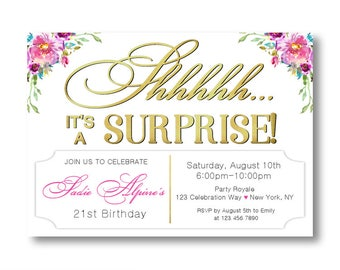 21st Birthday Invitations Women, Surprise Party Invites, Surprise Birthday turning 21, Milestone Birthdays, 30th 40th 50th or any age woman