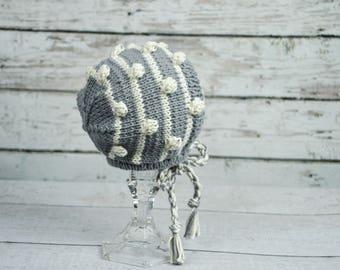 baby knit bonnet,bubble knit bonnet,baby gray bonnet,knit cotton bonnet,baby boy girl bonnet,knit photo prop.baby winter hat,newborn bonnet