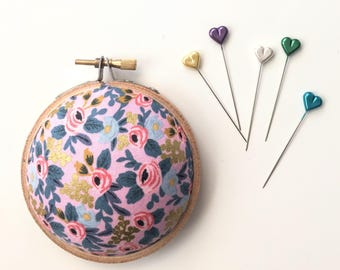 Embroidery Hoop Pincushion: Rosa Floral Pink - Gifts for Mom. Needle Holder. Needle Minder. Sewing Accessory. - Rifle Paper Co
