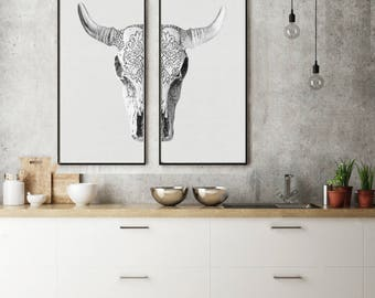 Set of 2 Bohemian Cow Skull   - Prints (Print #404 & 405 ) - 17.5x36 inches Fine Art Print - Two Paper Choices-