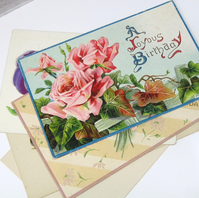 Birthday flowers vintage postcards paper ephemera lot of zoom izmirmasajfo Gallery