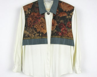Vintage 90s Blouse / Cream Ivory Off-white Women's Shirt Floral Tapestry / Small S Medium M