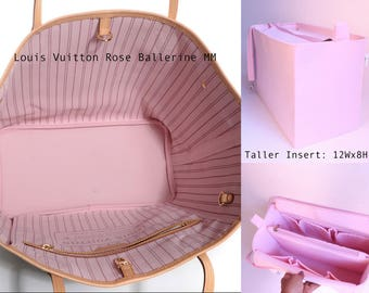 Taller Purse organizer for Louis Vuitton Neverfull GM with Zipper closure- Bag organizer insert in Rose Ballerine