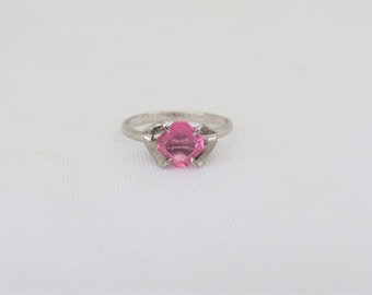 Vintage by ESPO Sterling Silver Pink Stone Adjustable Ring Size 5.5