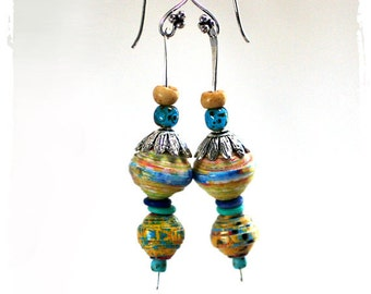 Hippie Bead Stack Earrings Light-weight Colorful Festival Boho Chic Gift for Her Long Dangle