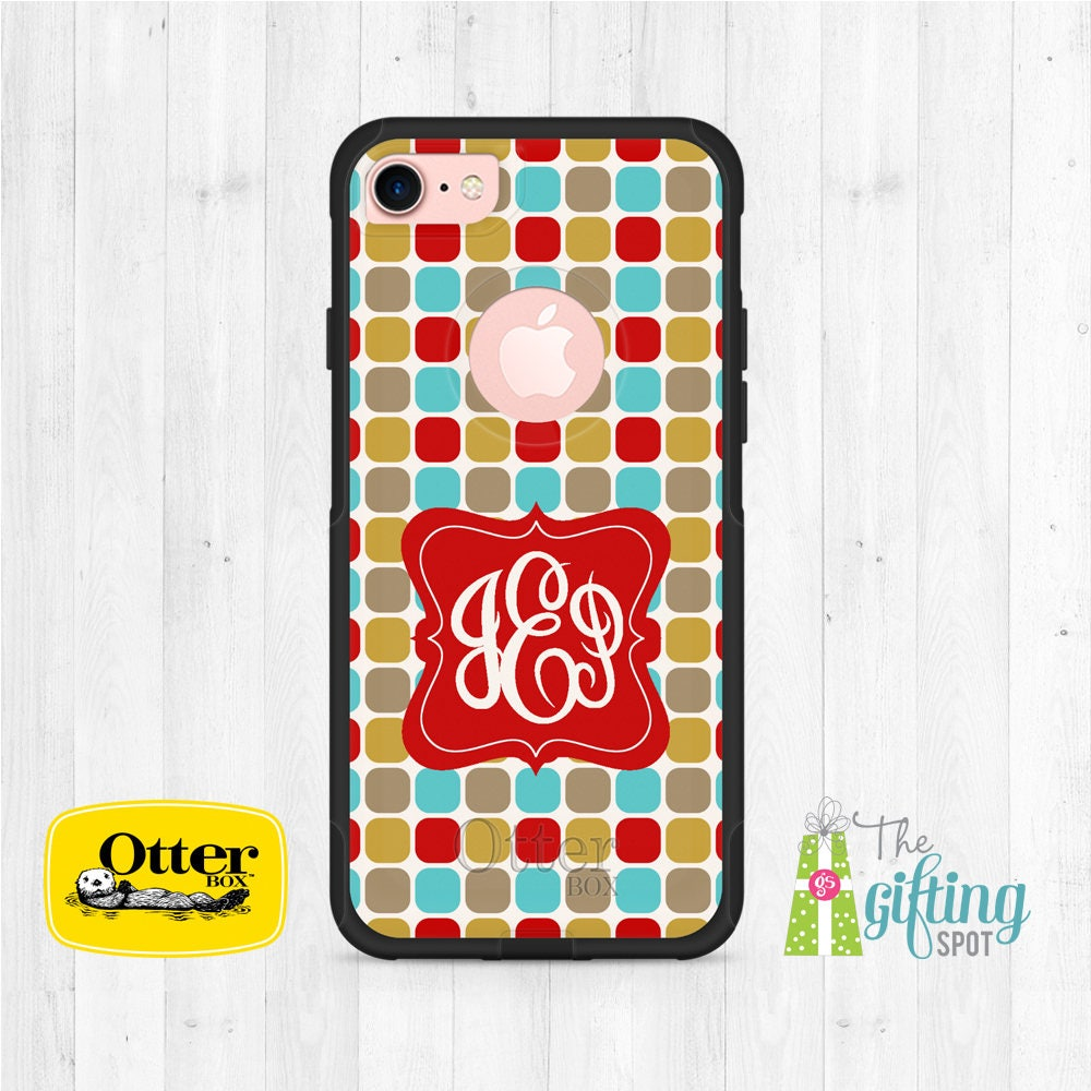 Personalized iPhone OtterBox, OtterBox Commuter, Monogrammed OtterBox, Custom Phone Case, OtterBox iPhone 8, iPhone 7, Squares Design