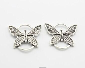 5pcs 27x25mm Antique Silver Large Butterfly Connectors Links Charms Pendants