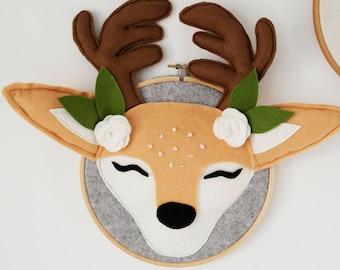 Woodland nursery - Deer antlers - Deer hear wall mount - Stag head - Stag wall art - Faux taxidermy