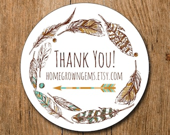 Customized Thank You Stickers -  Boho Arrow Feather Wreath Vintage  - Party - Packaging Display - Thank You Stickers