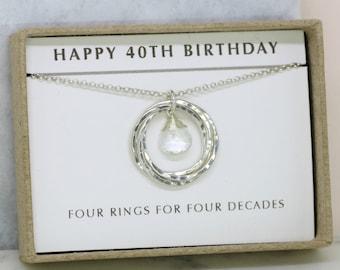 40th birthday gift, April birthstone necklace 40th, rock crystal necklace for 40th birthday, gift for wife, mom - Lilia