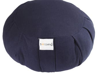 Navy Blue Zafu Meditation Cushion, 100% Organic Cotton Cushion with Full Back Support, Durable Eco-Friendly Meditation Pillow