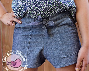 Shorts with pockets for girls - elastic waistband, easy sew - 0 months to 8 years - PDF Pattern and Tutorial