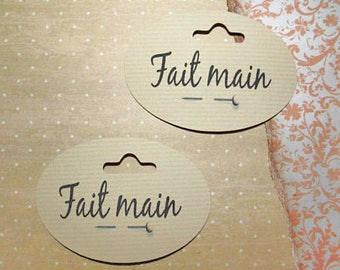 "Set of 12 labels or tags ""handmade"" for your creations"