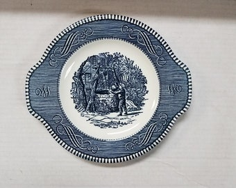 "Currier and Ives 8"" Tab Handled Plate"