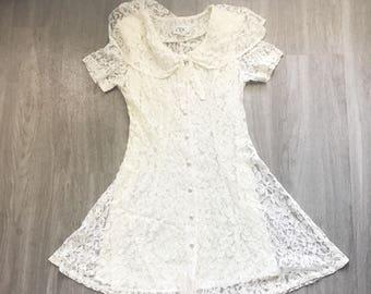 Vintage 80s Floral Lacr Sailor Bow Button Up Mini Dress