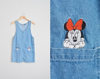 MICKEY MOUSE Denim Pocket Jumper sleeveless scoop neck shift dress Disney Minnie Mouse embroidered // Vintage '90s - Size Youth L.
