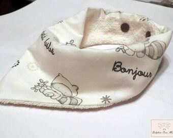 Bandana bib - Raccoon masked animal print